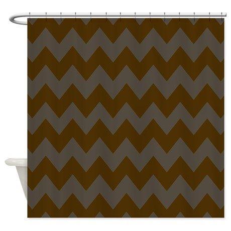 Dark Brown And Gray Chevron Shower Curtain On