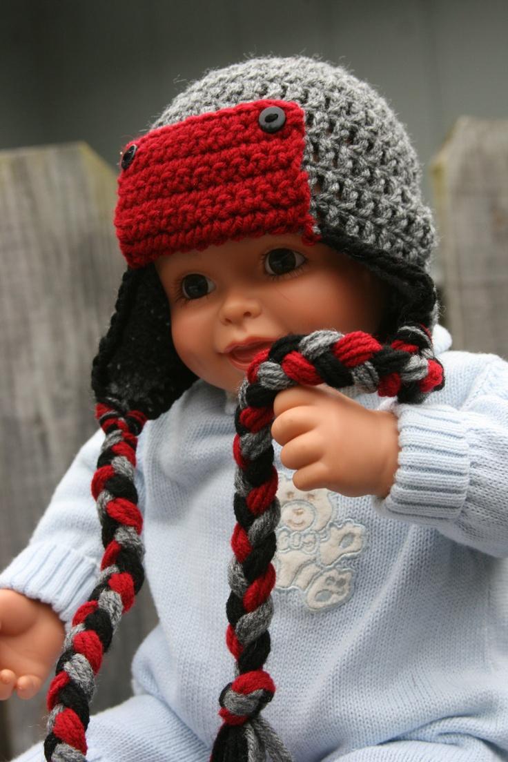 Crochet Braids Red And Black : Boy hat Aviator earflap braids crochet black, red and gray newborn