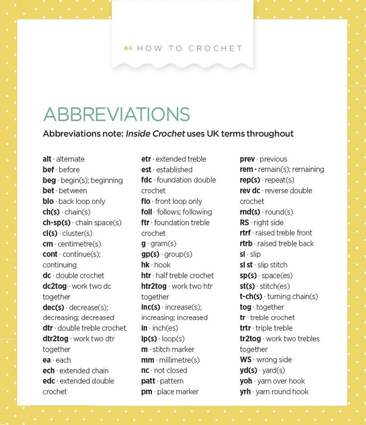 Crochet Terms : Abbreviations Crochet (Uk Terms) crochet Pinterest