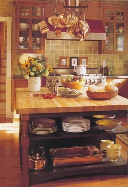 Craftsman kitchen with country elements in the island, country kitchen, copper accents in the kitchen, English style open kitchen island, William Morris leaf print wallpaper, Country Kitchen Ideas via Atticmag