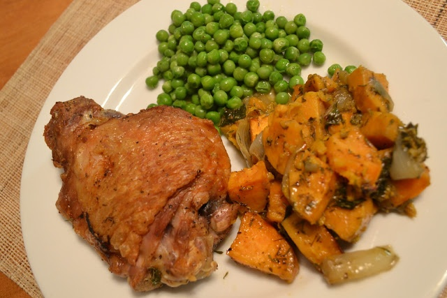 Baked Turkey Thighs with Baked Bourbon Sweet Potatoes