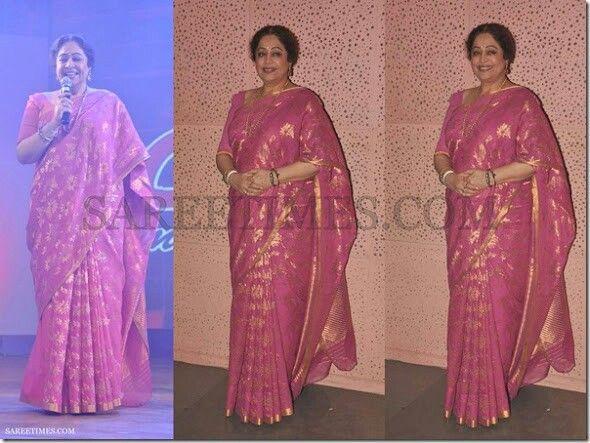 kirron kher pink saree sarees pinterest