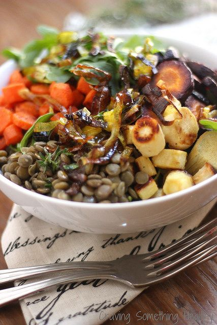 Warm Lentil Salad {Meatless Monday} | Craving Something Healthy
