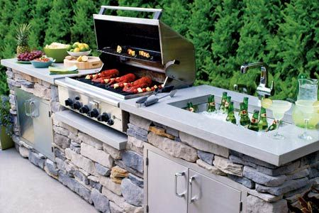 Outside kitchen...my hubby would love this!! #BBQ #kitchen