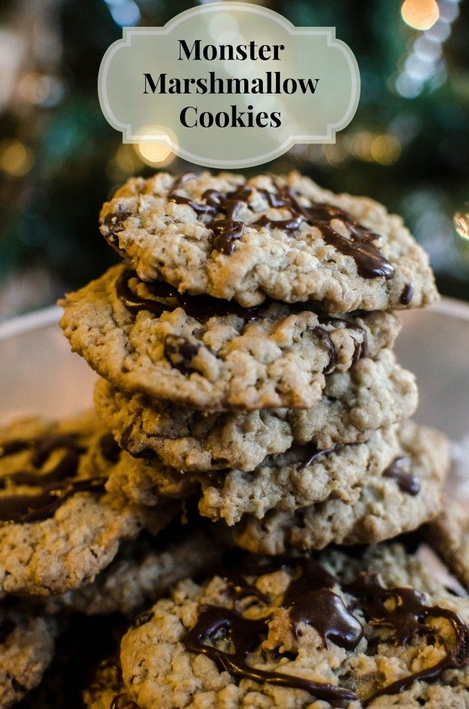 Monster Marshmallow Cookies Recipe — Dishmaps