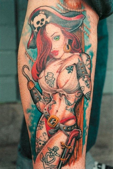 Pirate Girl Pin Up Tattoo - Aaron Bell