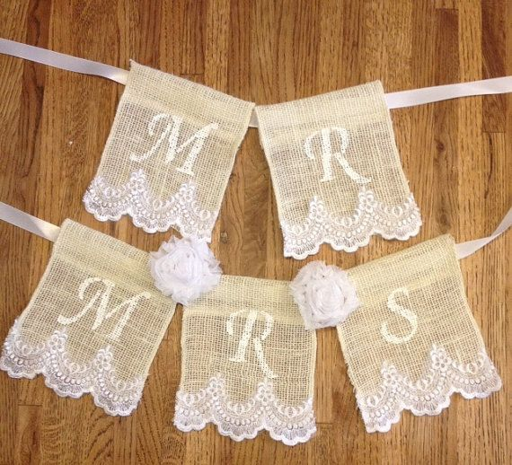 Mr and Mrs Burlap Lace Chair Banner/Wedding Decor/Bridal Shower Gift ...