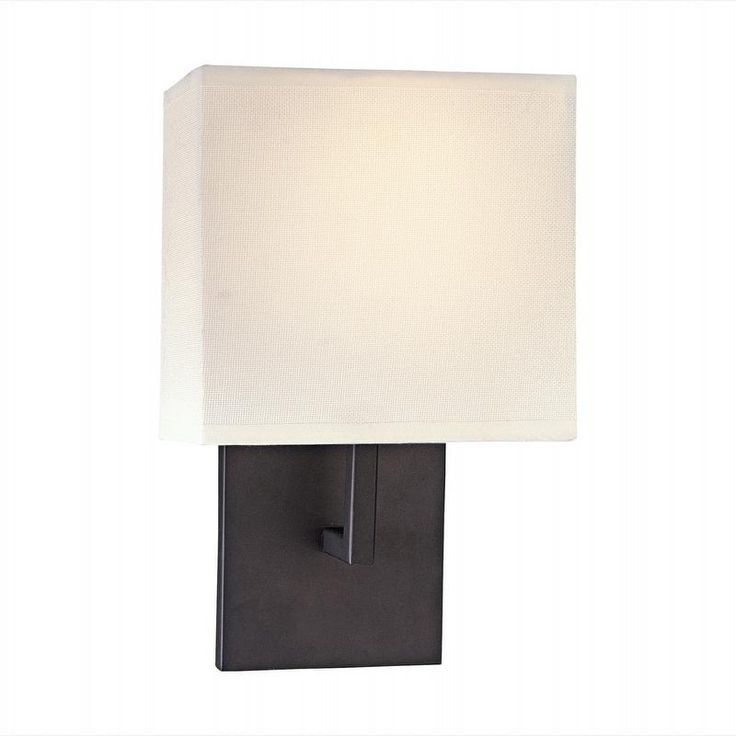 Wall Sconces Low Profile : Low Profile 12-inch Bronze & Off-White 1-Light Wall Sconce