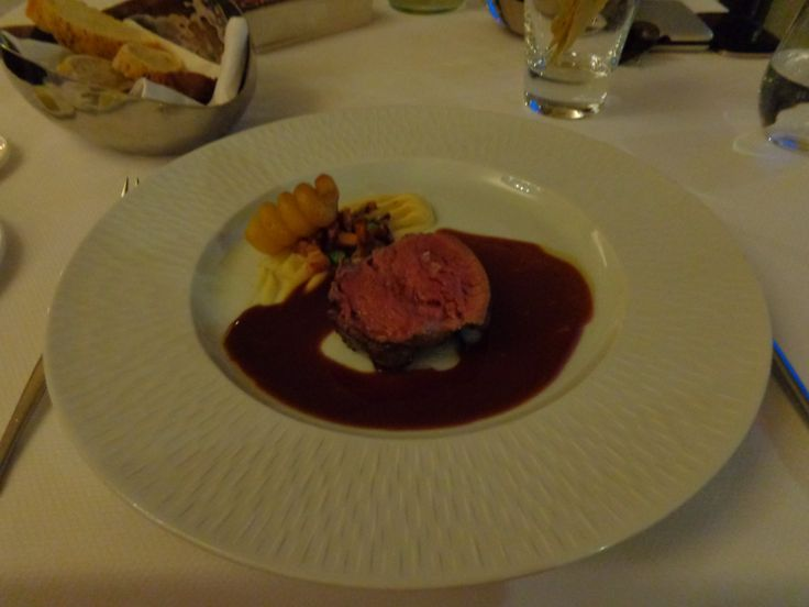 Roasted fillet of veal, white root vegetable purée, potato fondant ...