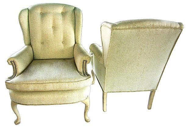 One kings lane petite wingback chairs pair