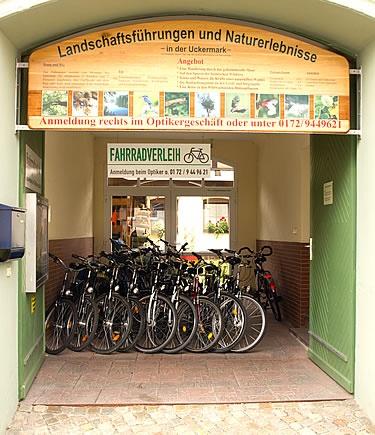 Fahrradvermietung in templin eingang