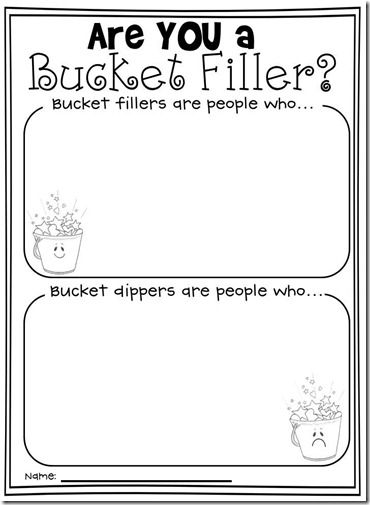 Love this sheet for bucket filler lesson.