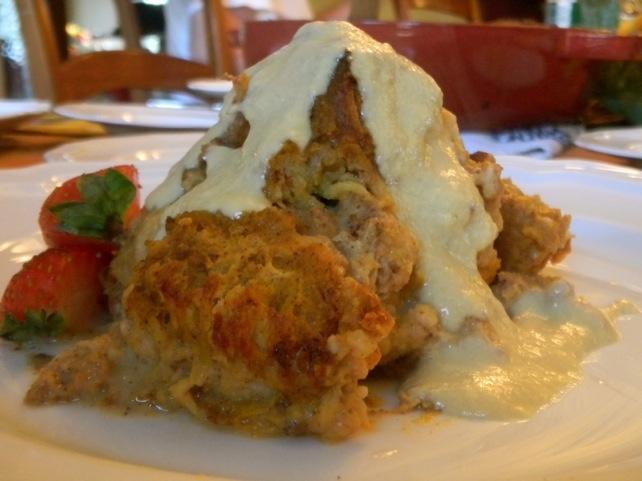 pumpkin bread pudding with orange-vanilla custard sauce