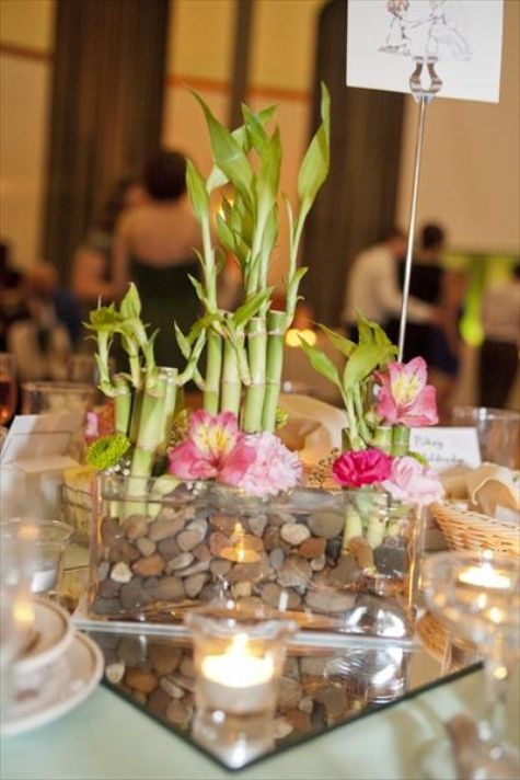 bamboo and cherry blossom centerpiece party ideas
