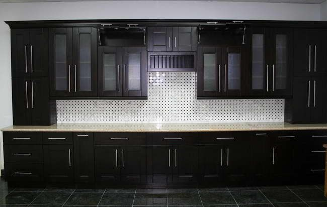 Black cabinets and silver pulls for the home kitchen for Black and silver cabinet