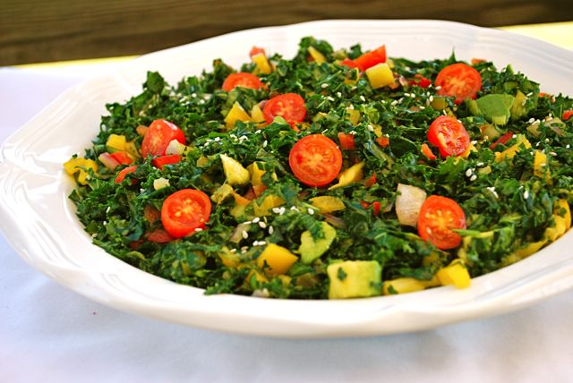 Raw Kale Salad.....I've made this many times. It is yummy!