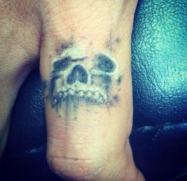 Skull Ring Finger Tattoos