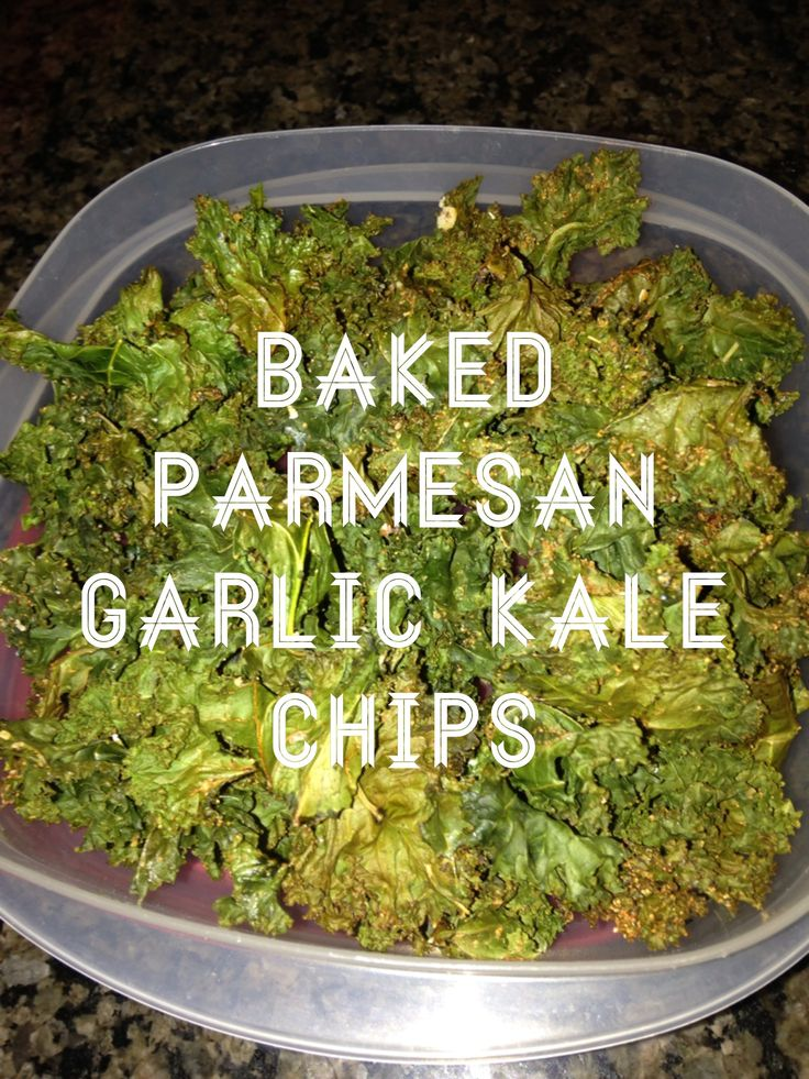 Baked Parmesan garlic kale chips. Preheat oven to 300. Toss lightly on ...