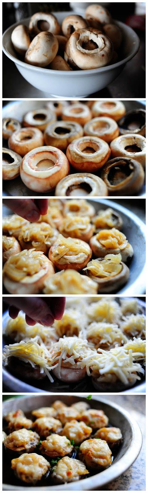 French Onion Soup Stuffed Mushrooms   Yummy Food   Pinterest