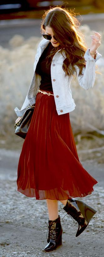 jeans jacket red maxi sparkling shoes with handbag