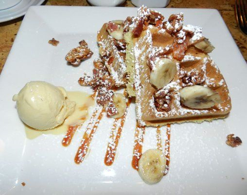 Fat Elvis Waffle with bacon caramel, bananas, peanut butter ice cream ...