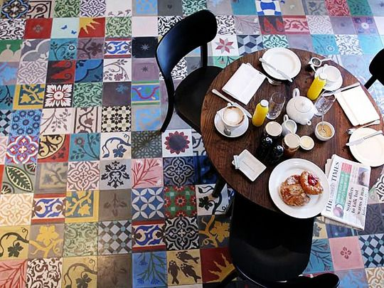 Patchwork tile floor...