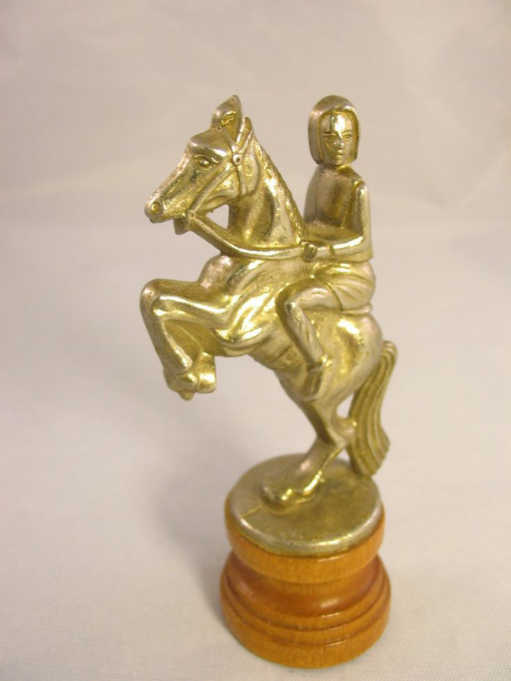 Vintage Brass Pewter Nickel Chess W Wood Base