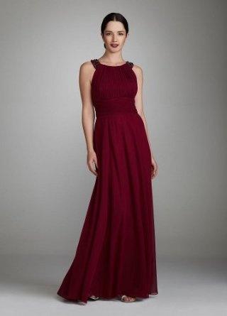 David's Bridal Long Sleeveless Chiffon Dress with Beaded Neck Style 47236D $179