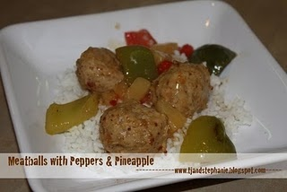 Chicken Meatballs with peppers and pineapple. Strangely wonderful!