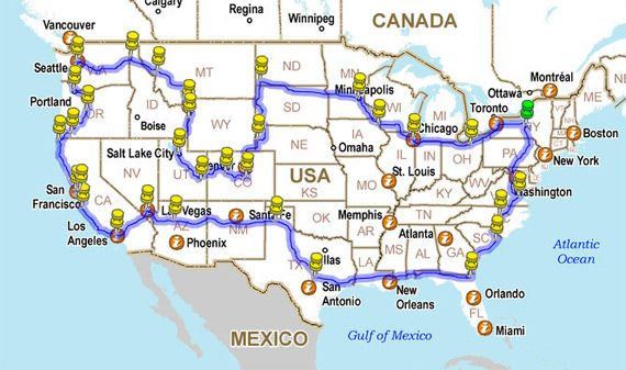 How to Drive across the USA hitting all the major landmarks. This would be a fun summer-long road trip!
