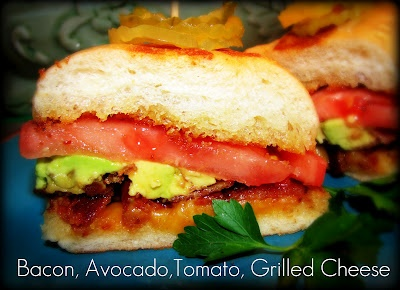 Bacon, Tomato, Avocado, Grilled Cheese Sandwich on Bolillo Bread.