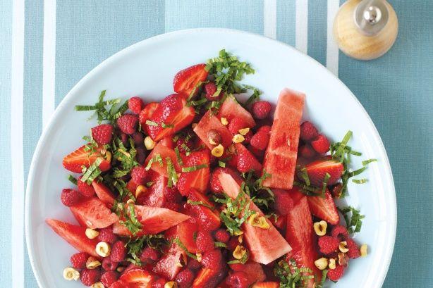 watermelon, raspberry & mint salad | eats ~ salads | Pinterest