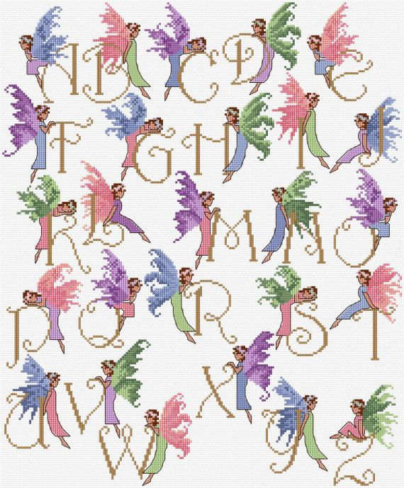 Fairy Alphabet AZ Sampler Cross Stitch Chart PDF by clairecrompton, £6.00