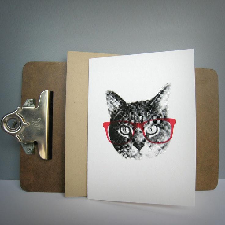 gee whiskers series: pink nerd notecard