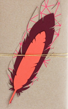 feather gift wrap tag from down and out chic blog spot