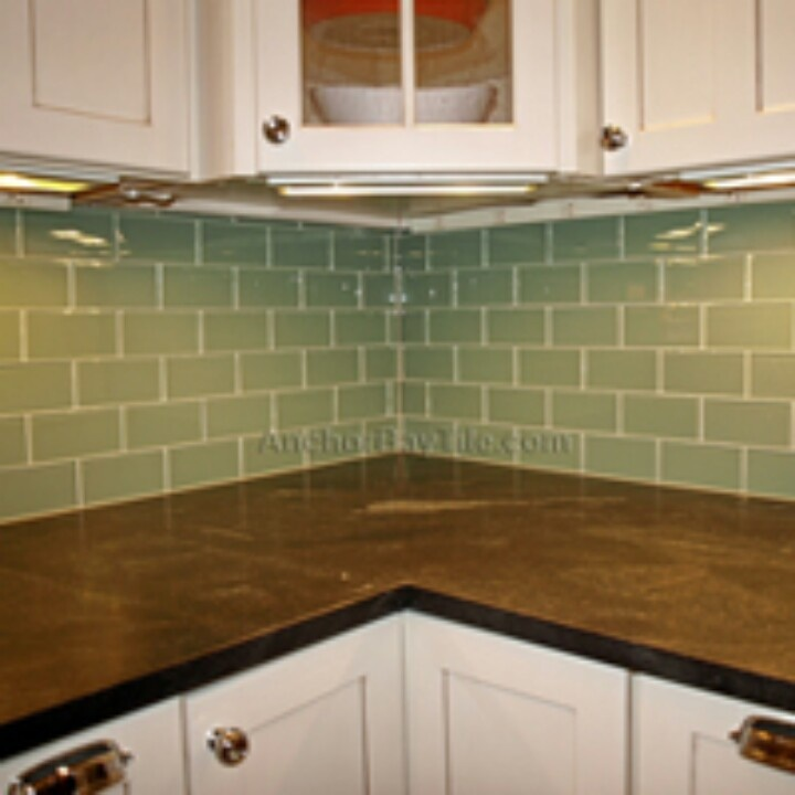 Glass subway tiles backsplash