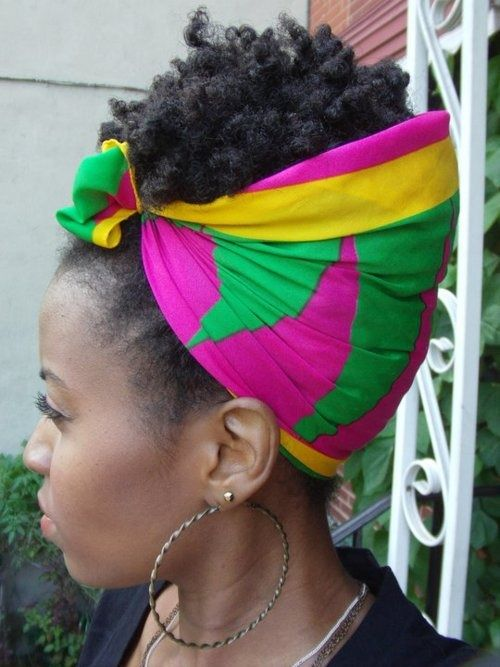 colorful scarf natural hair coily styles pinterest