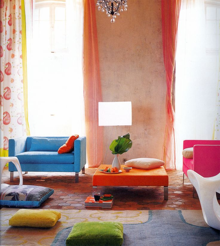 Living room in bright and joyous color palette of cornflower blue