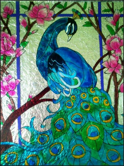 Peacock painting on glass - photo#4