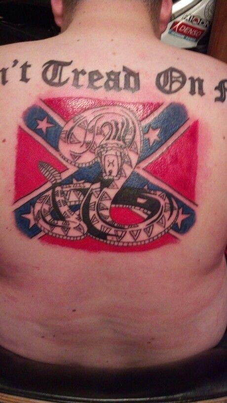 Rattlesnake and rebel flag back tattoo | Stafford Tattoo ...
