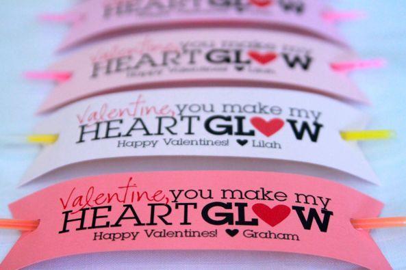 glow stick bracelet valentine -- printable
