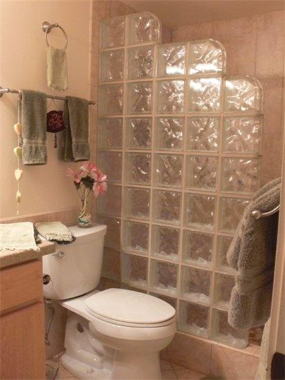 Glass block shower bathroom redo pinterest for Bathroom designs using glass blocks