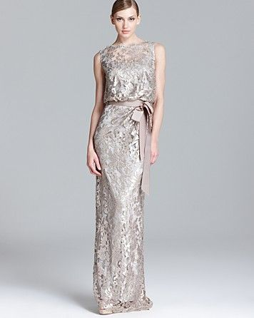 Lace Gown Sleeveless Blouson Bloomingdale 39 S Mother Of The Bride