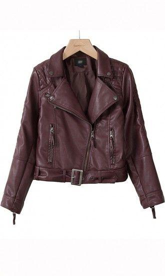 Long sleeve zipper leather jacket purple | Stylish Stuff You Can Buy