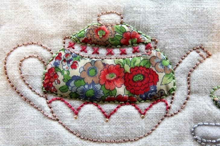 Cute teapot applique/embroidery pattern..also teacups..