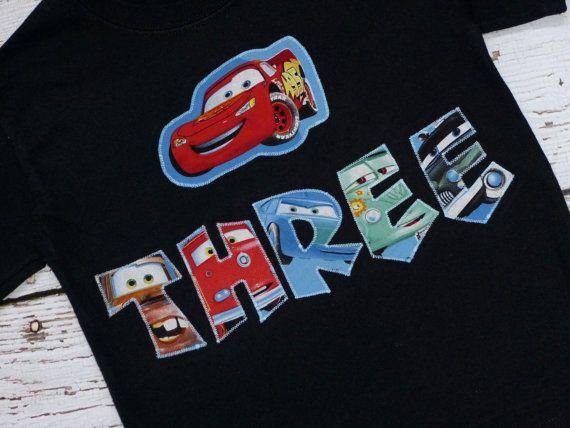 Choose Colors Applique Disney Cars Birthday T Shirt Tee