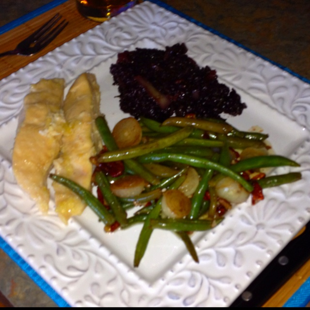 Lime ginger coconut chicken, black rice with veggies, and green beans ...