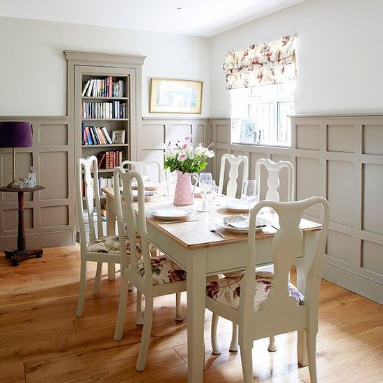 Pale grey panelled dining room my hamptons dream home for Dining room gray walls