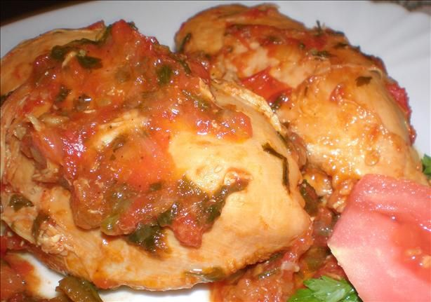 Braised Chicken With Green Peppers and Tomatoes: got this using one of ...
