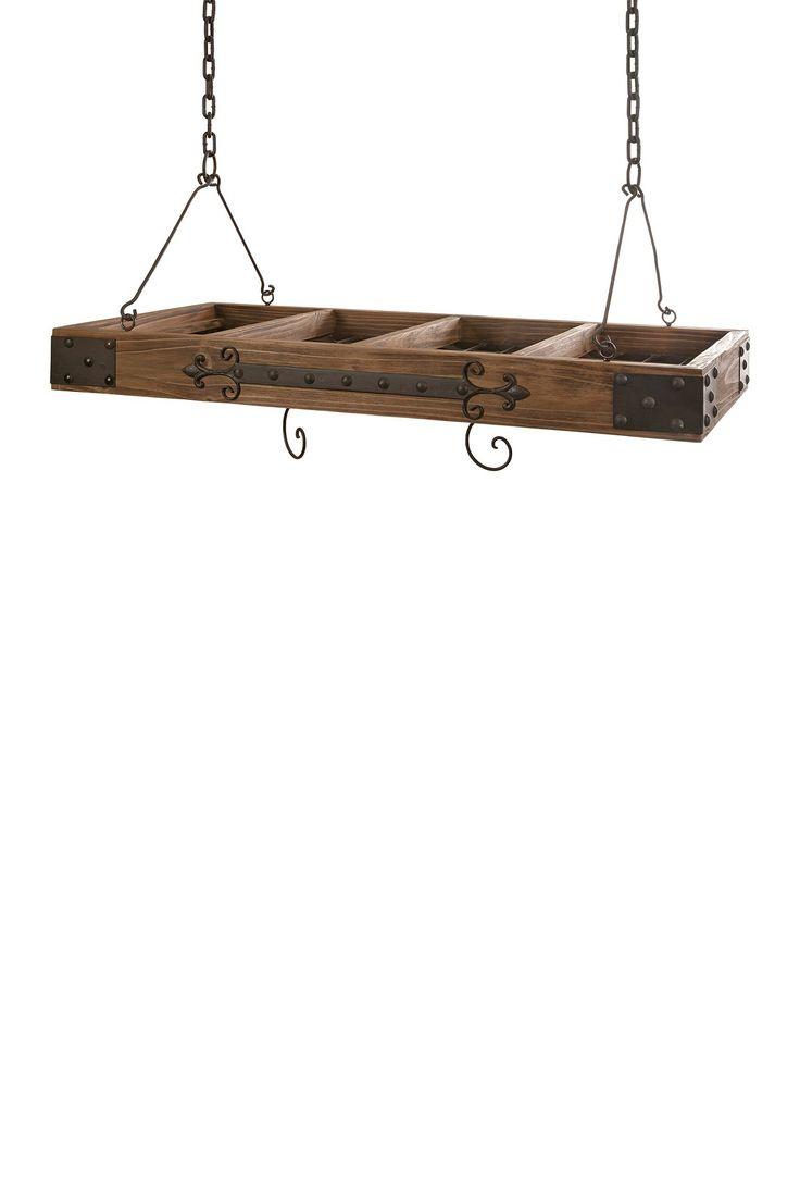 Rustic wood iron pot rack stuff i like part i for Reclaimed wood pot rack